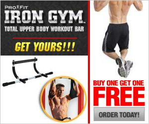 Iron Gym chin pull up bar gives workout for upper bodyt and turns any ordinary doorway into your own personal gym in seconds. It wraps around your doorframe with no tools required. In just minutes a day you�ll build lean muscle and get ripped. With the IronGym you can do Chin-Ups, Pull-Ups, Push-Ups, Tricep Dips and Ab Crunches! Every exercise you need to build a powerful upper body.